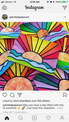 Rainbow sunshine art first grade art, grade art lesson, grade 1 art,. find this pin and more on education kindergarten art 3rd Grade Art Lesson, First Grade Art, 2nd Grade Art, Square 1 Art, Color Wheel Art, 7 Arts, Class Art Projects, Kindergarten Art, Art Lessons Elementary