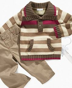 First Impressions Baby Set, Baby Boy Collared Sweater and Pants Set - Kids Newborn Shop - Macy's