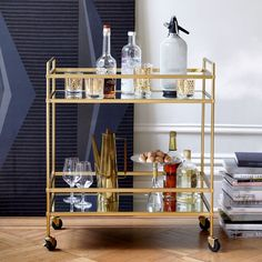 No home should be without a bar cart. I love this golden one from @westelmuk. My bar cart was the best purchase I've made for my home to date!