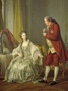 Marie-Francoise Filleul, marquise de Marigny (1751-1822), daughter of Louis XVI and Irene de Buisson de Longpre (d. 1767), with her husband Abel Poisson, brother of Madame de Pompadour, 1769 by Louis-Michel van Loo.