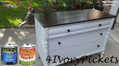 4 Ivory Pickets, https://www.facebook.com/4IvoryPickets?fref=ts, did a fantastic job refinishing this dresser.  GF Persian Blue Milk Paint and Java Gel were a great choice!  You can find your favorite GF products at Woodcraft, Rockler Woodworking stores or Wood Essence in Canada. You can also use your zip code to find a retailer near you at http://generalfinishes.com/where-buy#.UvASj1M3mIY. #generalfinishes #gfmilkpaint #javagel