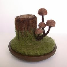 Tree Stump Mushrooms Wool Sculpture Pin Cushion Made to Order. $29.00, via Etsy.