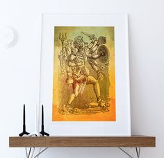 Hindu God Hanuman Print Vintage Hindu Decor Wall Art - Giclee Print on Cotton Canvas and Paper Canvas  #wallart #homedecor #print #Hinduism #hindu #hinduhanuman #hanuman #indian #art #etsy #vishnuprint #hanumanart #walldecor #boho #india #illustration #vintage #artprint