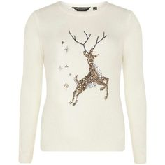 Cream Sequin Reindeer Christmas Jumper ($37) ❤ liked on Polyvore featuring tops, sweaters, dorothy perkins tops, sequined sweaters, dorothy perkins, sequin christmas sweater and cream sequin top
