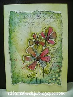 I am entering this in the challenge on : Make My Monday - paper piecing **** STAMPS USED: Flower - Penny Black T. Art Journal Pages, Art Journals, Small Journal, Penny Black Cards, Canvas Paper, Pretty Cards, Watercolor Cards, Flower Cards, Paper Piecing