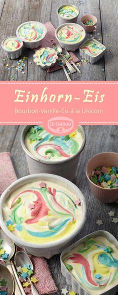 Einhorn-Eis: Bunt-gefärbtes Bourbon-Vanille-Eis à la Unicorn