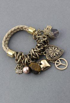 Multi elements knit bracelet