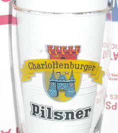 Vintage Charlottenburger Pilsner .2 Liter German Gold Rim Beer Glass  #Charlottenburger