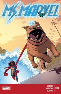 Ms. Marvel (2014-) #8 - Kamala crosses paths with the Inhumans for the first time, by meeting the royal pup, Lockjaw! Every girl wants a puppy, but this one may be too much of a handful, even for a super hero with embiggening powers. He may be the Queen's pooch, but this dog's one royal pain in the neck.
