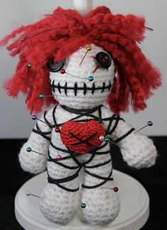 Red Haired White VooDoo Doll Pincushion by CascadiaCrochet on Etsy, $20.00