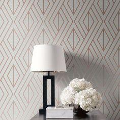 Pear Tree Geometric Wallpaper Grey and Rose Gold UK30506