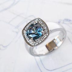 Custom platinum, sapphire and diamond ring by J ALBRECHT DESIGNS.