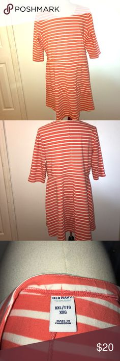 Old Navy skater style coral dress This is an awesome coral color that would look great with any shoe!!! Old Navy Dresses Midi