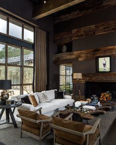 Wonderful Rustic Living Room Decor Ideas And Remodel - Page 48 of 144 - Afshin Decor Interior Architecture, Interior And Exterior, Interior Design, Ski Chalet, Home Fashion, Living Room Decor, Family Room, Loft, New Homes