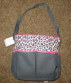 Carter S 2 Pc Diaper Bag Set Gray Fuchsia W Cheetah Print Trim Only