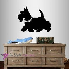 Wall Vinyl Decal Home Decor Art Sticker Cute Scottish Terrier Dog Puppy Bedroom Nursery Pet Shop Room Removable Stylish Mural Unique Design -- Visit the image link more details. (This is an affiliate link) Animal Wall Decals, Nursery Wall Stickers, Vinyl Wall Decals, Scottish Terrier, Terrier Dogs, Kids House, Pet Shop, Dog Grooming, Dog Bed