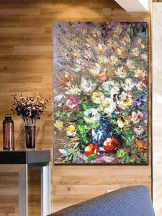 Palette knife painting-Beautiful Flowers-Original modern Hand painted abstract Oil painting on canvas-Wall fine art