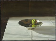 Silver Bowl and Green Apple | From a unique collection of still-life paintings at https://www.1stdibs.com/art/paintings/still-life-paintings/