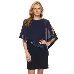 Women's Chaps Sequin Cold-Shoulder Chiffon-Overlay Evening Dress