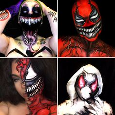 Carnage Symbiote, Venom, Body Paint Cosplay, Deadpool Art, Halloween Costumes, Halloween Face Makeup, Gwen Stacy, Costume Makeup, Body Painting