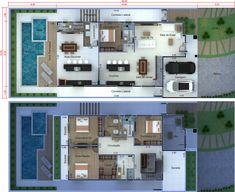 Luxury Home Builders Family House Plans, House Floor Plans, Family Houses, Minimalist House Design, Minimalist Home, Suite Master, Japanese Style House, House Construction Plan, Model House Plan