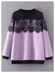 560355a62392 Lace Insert Sheer Shoulder Sweatshirt (Light purple) Winter Blouses