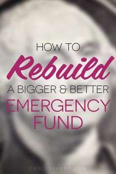 how to rebuild your emergency fund...  http://christianpf.com/rebuild-emergency-fund/