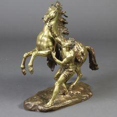 Lot A polished gilt bronze figure of a Marley horse x x est Antique Auctions, 18th, December, Lion Sculpture, Bronze, Horses, Statue, Antiques, Toys