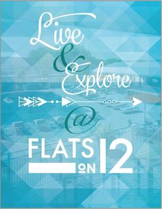 A free spirit inspired table sign for our client, Flats on 12, Housing Fair that our design team created. #studenthousing #marketing #design