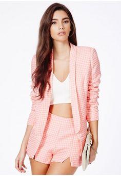 Ferfa Peach Blazer In Textured Check - Coats & Jackets - Blazers - Missguided