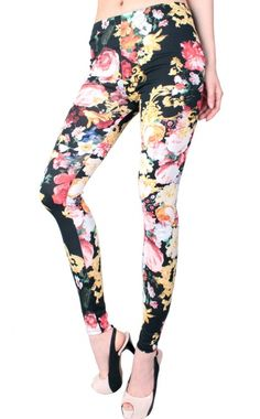 Women's #Fashion Clothing: Pants, Tights, and #Leggings: LeggingsQueen Beautiful Flower Print Leggings - Black: Clothes