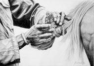 Pencil art by Vincent Reid at Oaklands Country Manor - Drakensberg - Vincent 018 - Braiding