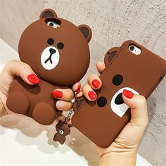 Cute Korean Cartoon Capa Case Teddy Bear Coque Soft Silicone Phone Cases For iPhone 7 5 SE 6 Cover Fundas Iphone 7 Plus, Cases Iphone 6, Silicone Iphone Cases, Iphone 4s, Korean Phone Cases, Korean Phones, Birthday Gifts For Best Friend, Best Friend Gifts, Cute Cases