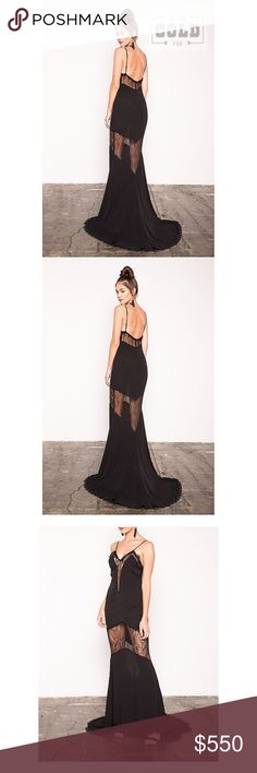 StoneColdFox💥 Edwin Dress MSRP$700 NWT Stone Cold Fox💥 Edwin Gown in Black - Deep V-neck plunges at the front  - Super thin spaghetti straps  - Inset lace and delicate seaming - Floor length with mini train MSRP $700  *Please do not purchase this listing! Not forsure I want to sell but accepting offers xx Stone Cold Fox Dresses Backless