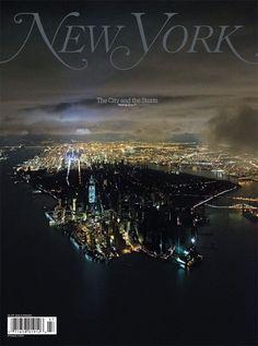 De adembenemende cover van New York Magazine van het half verduisterde Manhattan