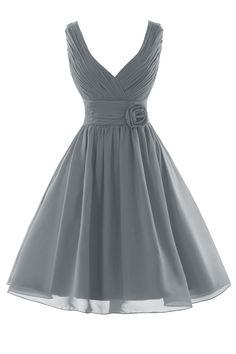 Orient Bride Women Tank Flower Short Party Prom Bridesmaid Dresses Size 8 UK Steel Grey