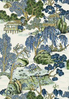 Thibaut Asian Scenic Blue and Green Wallpaper - - Dynasty Wallpapers Collection Asian Wallpaper, Green Wallpaper, Bathroom Wallpaper, Fabric Wallpaper, Chinese Wallpaper, Playroom Wallpaper, Oriental Wallpaper, Unique Wallpaper, Wall Wallpaper
