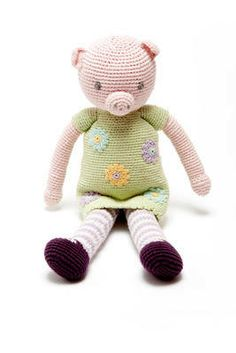 Pebble Fair Trade Cotton Crochet Doll Pig Girl.  Pebble Fair Trade Cotton Crochet Doll Pig Girl    Beautiful hand crochet pig toy  100% cotton outer Machine wash at 30