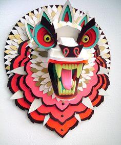 Amazing Wood Animal Sculptures by Artist AJ Fosik Cardboard Sculpture, Wood Sculpture, Paper Sculptures, Wooden Crafts, Paper Crafts, Living Puppets, Paper Mask, 3d Paper, Illustration Art