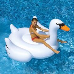 Blue Wave Giant Swan Inflatable Ride-On