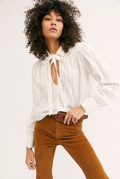 Born To Be Yours Top - White Long Sleeve Tie Neck Blouse - White Long Sleeve Blouse with Key Hole Front - Neck Tie White Blouse - Boho Tops - Flowy White Tops Boho Fashion, Fashion Looks, Womens Fashion, Fashion Tips, Travel Fashion, White Flowy Top, White Tops, Fancy Tops, Free People Store