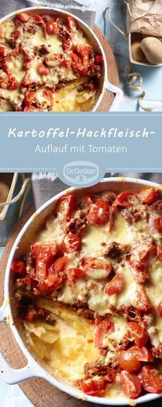 Potato and mince dish-Kartoffel-Hackfleisch-Auflauf Potato mince casserole: A classic minced meat and potato casserole with tomatoes - Roast Meat Recipe, Minced Meat Recipe, Vegetable Soup Healthy, Vegetable Dishes, Baked Meat Recipes, Crockpot Recipes, Mince Dishes, Low Carb Meats, Carne Picada