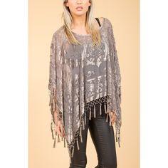 Jayley Grey Silk Devore Poncho found on Polyvore featuring women's fashion, outerwear, silk poncho and grey poncho