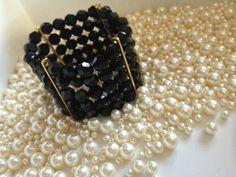 Swarovski Elements Black Jet Crystal Bracelet by BlackPearlCouture