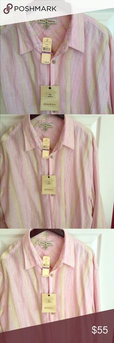 Men's Tommy Bahama long sleeve summer shirt. New with tags. Tommy Bahama long sleeve summer pink, white an faint yellow and green stripes. Size is an XXL. Husband lost weight unable to fit.. Please make an offer never worn Tommy Bahama Tops Button Down Shirts