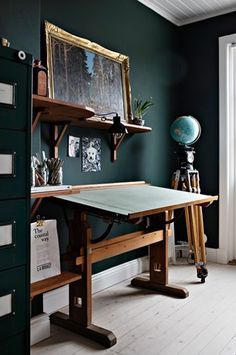 The Beautiful House of a Swedish Creative - Home office with dark green walls and vintage architect desk. Green Accent Walls, Dark Green Walls, Dark Walls, Home Office Design, Home Design, Wall Design, Design Desk, Green Home Offices, Green Office