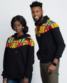This kente hoodie sweatshirt is the cool outerwear for the Fall, Winter and Spring seasons. Couples African Outfits, Couple Outfits, African Print Fashion, African Fashion Dresses, Africa Fashion, African Wear, African Dress, African Street Style, Moda Afro