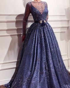 Details - Celtic blue color - Embroidered tulle fabric - Handmade embroidered crystals - Handmade embroidered belt - Ball-gown style - Party and evening dress Elegant Dresses, Pretty Dresses, Formal Dresses, Gala Dresses, Couture Dresses, Party Mode, Fantasy Gowns, Ladies Dress Design, Beautiful Gowns