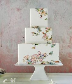 Hand-painted wedding cake idea - square, three-tier #weddingcake with watercolor flowers {Maggie Austin Cake}