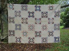Antique Quilt Star Pattern Multi Color | eBay - so pretty, and look at that quilting!